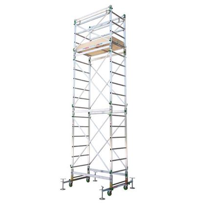 Immagine di Trabattello Alumito Maxi  in alluminio, struttura 5,40 mt, h lavoro 6,30 mt, montanti 25x65 mm, gradini 30x30 mm