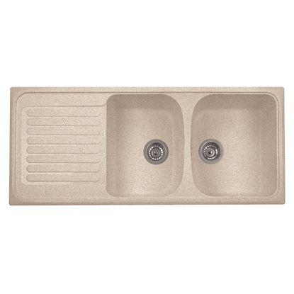 Immagine di Lavello Harmony, 2 vasche, con gocciolatoio, reversibile, materiale composito microUltragranit, 116x50 cm, colore avena