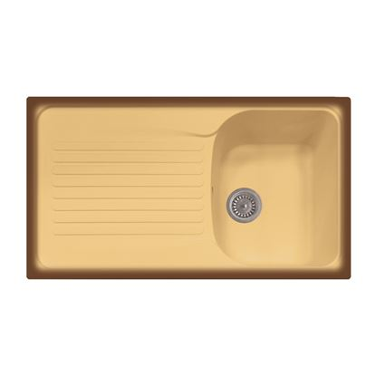 Immagine di Lavello Harmony, 1 vasca, c/gocciolatoio, revers., materiale composito Ultraquartz, 86x50 cm, col.terra di francia