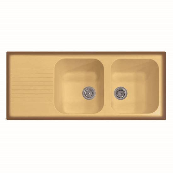Immagine di Lavello Atlantic, 2 vasche, con gocciolatoio, reversibile, materiale composito Ultraquartz, 116x50 cm, colore bianco