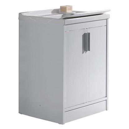 Immagine di Mobile lavapanni 2 ante, 60x50x84 cm, con asse in plastica e kit sifone incluso, struttura in pvc estruso, piedino regolabile e maniglia abs, cromo, porta e frontale bianchi a filo