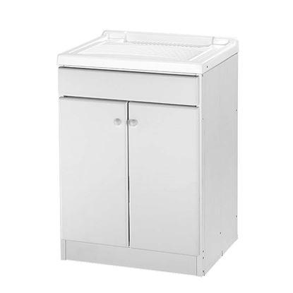 Immagine di Mobile lavatoio, asse in plastica, kit sifone, struttura in pvc estruso, piedino regolabile, porta e frontale standard