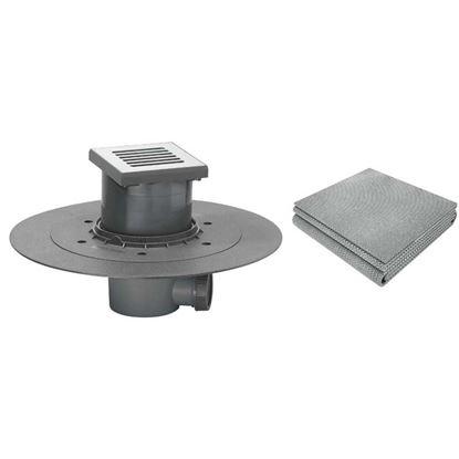 Immagine di Pozzetto doccia Wirquin con telo 1800x1500 mm, uscita Ø40 mm, griglia 115x115 mm