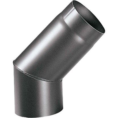 Immagine di Curva 45° per stufa a legna spessore 2 mm, colore nero, Ø120 mm