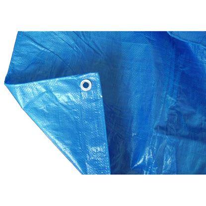 Immagine di Telo occhiellato, multiuso in polietilene, robusto e impermeabile, bordo rinforzato, colore blu, 90 gr/m², 4x6 mt