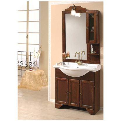 Immagine di Composizione Stefania, 85 cm, base 3 ante con lavabo, specchiera e pensile, con illuminazione