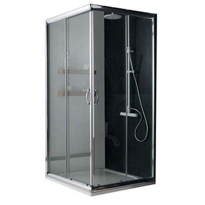 Immagine di Box doccia Giada, profilo alluminio anodizzato cromo lucido, cristallo 6 mm trasparente, 80x100xh185 cm