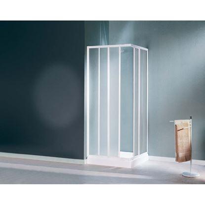 Immagine di Box doccia Mediterraneo, profilo bianco, cristallo stampato 3 mm, 64/74 cm