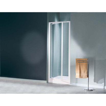 Immagine di Porta doccia Mediterraneo, battente, profilo bianco, cristallo stampato 3 mm, 77/81 cm