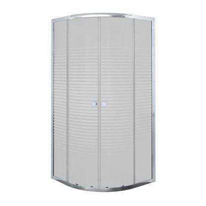 Immagine di Box doccia Umbra, semicircolare, profilo alluminio bianco, cristallo temperato 5 mm, con serigrafia, 90x90xh190 cm