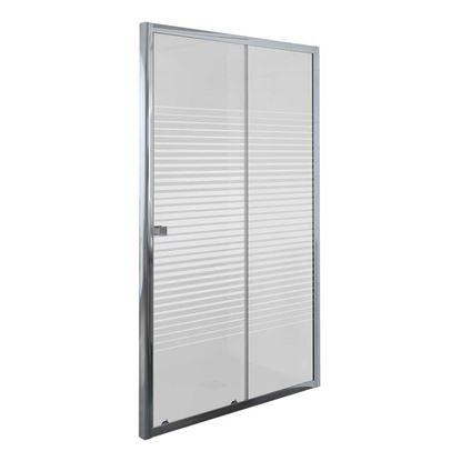 Immagine di Porta doccia Umbra, scorrevole, profilo alluminio cromato, cristallo temperato 5 mm, con serigrafia, 120xh190 cm