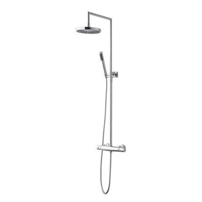 Immagine di Colonna doccia telescopica, con termostatico 2 uscite, soffione Ø 20 cm, flessibile 150 cm, doccia 1 getto