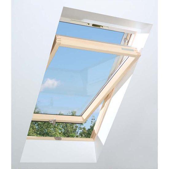 Immagine di Finestra da tetto termoventilata, in pino, apertura a bilico  doppio vetro montaggio 15-90°, VB 55xh98 cm