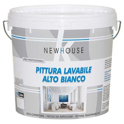 Immagine di Pittura lavabile traspirante New House, per interno, resa 40-60 m² con 1 latta, 4 lt, colore bianco