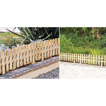 Immagine di Recinzione Twig, Superior, bassa liscia, in legno di conifera impregnato, listelli verticali 1,5x6,3 cm, 120xh30 cm