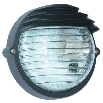 Immagine di Plafoniera tonda Palpebra, diffusore in vetro stampato, IP54, E27-60 W, Ø 18,4 cm, colore nero
