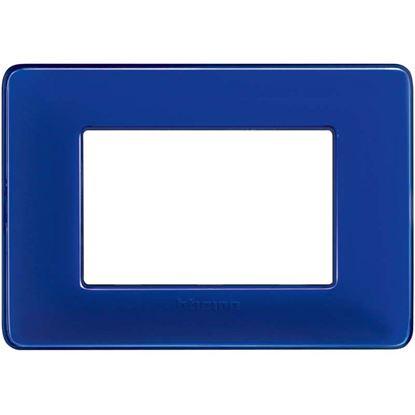 Immagine di Placca 3 posti, Matix, colore cobalto