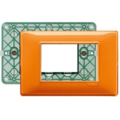 Immagine di Placca 3 moduli, Plana, colore reflex arancio