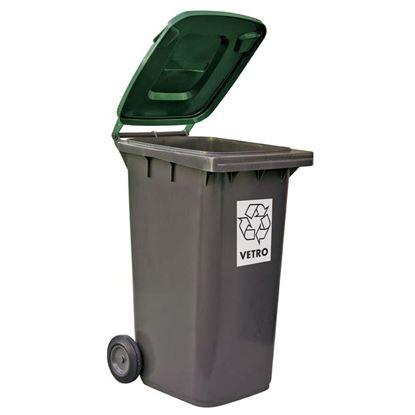 Immagine di Bidone raccolta differenziata,  colore grigio/verde, 240 lt