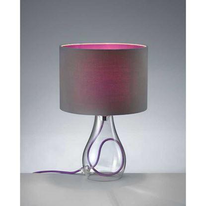 Immagine di Lampada da tavolo, vetro trasparente, arente paralume, altezza 31 cm, E14, 40 W, colore grigio