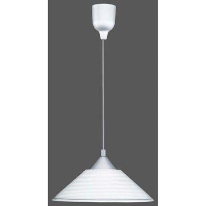 Immagine di Sospensione vetro cono, E27, 60W, Ø30 cm, righe bianche