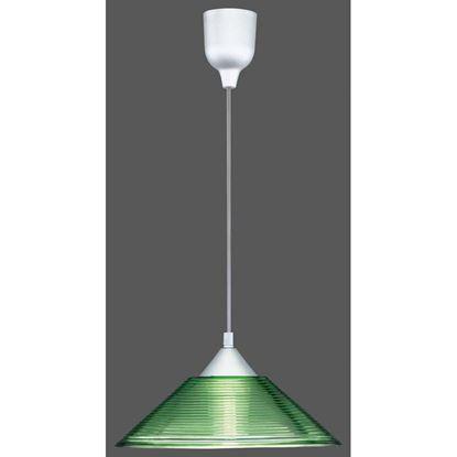 Immagine di Sospensione vetro cono, E27, 60W, Ø30 cm, righe verdi