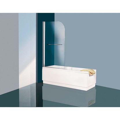 Immagine di Parete vasca, 1 anta arrotondata, vetro trasparente, 75x135 cm, profilo cromato