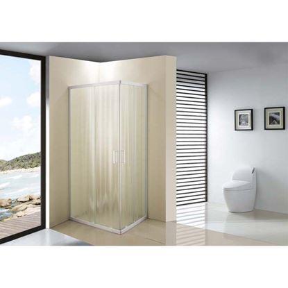 Immagine di Box doccia Giulia, profilo bianco, cristallo piumato, spessore 4 mm, maniglia bianca, 69/79x89/99x185 cm