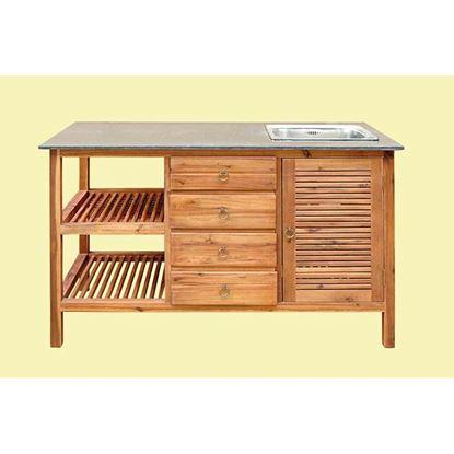 Immagine di Mobile lavello, in acacia, piano in marmo, lavabo e scarico con piletta, 4 cassetti, 1 sportello, 62x133xh86 cm