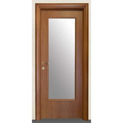 Immagine di Porta cinzia noce chiaro batt., revers., 78x214 cm, telaio piatto, acc. olv, con vetro