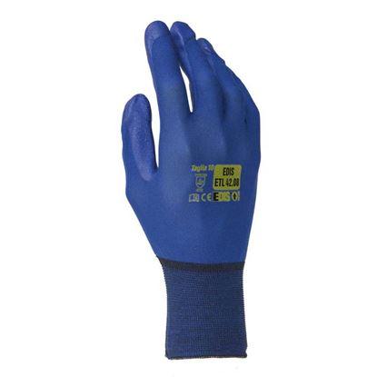 Immagine di Guanto in nylon senza cuciture, spalmatura in poliuretano, sul palmo e sulle dita, colore blu, taglia 7