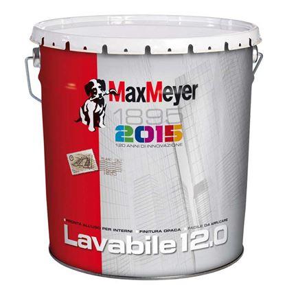 Immagine di Pittura lavabile Max Mayer, pronta all'usa, facile da applicare, finitura opaca, colore bianco, 12 lt