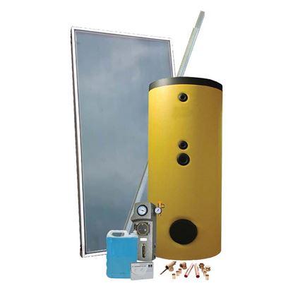Immagine di Kit green termosolare circolazione forzata acqua calda sanitaria serbatoio 200l pannello 2,5m² vaso espansione per tetto