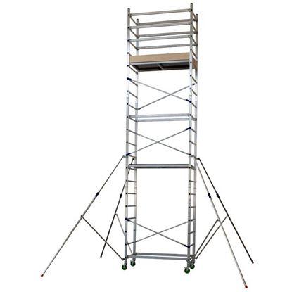 Immagine di Trabattello Facal,  Alto 620, in alluminio, piano di lavoro 68x141 cm, 2 spalle, portata 200 kg, piano di lavoro 4,90 mt