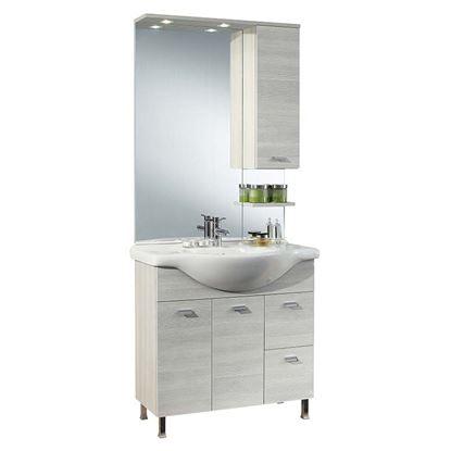 Immagine di Composizione londra 85 cm, dx, specchio con illuminazione a led, 85x48xh195,5 cm, colore larice