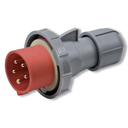Immagine di Spina industriale dritta 16A, 3P+T, 6h, colore rosso, IP67, 380-415V