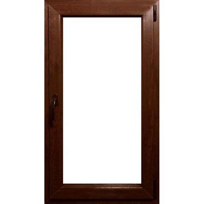 Immagine di Finestra pvc 1 anta 6 camere, doppio vetro, 60x120 cm, colore noce