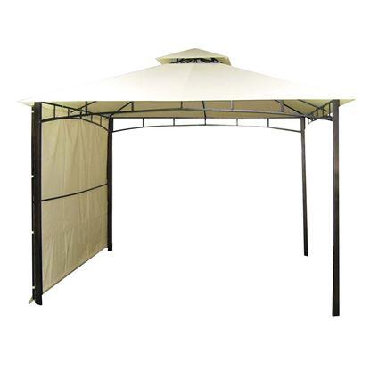Immagine di Gazebo Antigua in ferro 3x3 mt, tela colore ecreù, tenda laterale, altezza max 2,70 mt