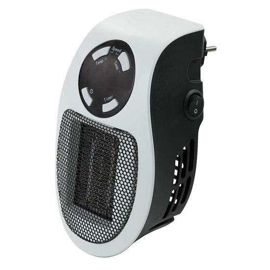 Immagine di Mini termoventilatore 500 W, display Led, controllo temperatura 15-30°, protezione anti-surriscaldamento, timer 12 h