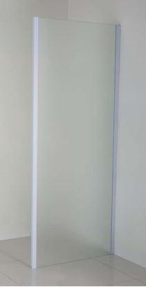 Immagine di Lato fisso per porte, profilo bianco, cristallo piumato, spessore 6 mm, 80x195 cm