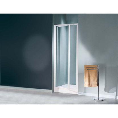 Immagine di Porta doccia Mediterraneo, battente, profilo bianco, cristallo stampato 3 mm, 73/77 cm