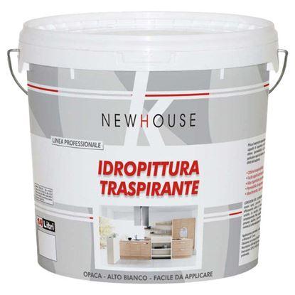 Immagine di IDROPITTURA TRASPIRANTE NEW HOUSE, PER INTERNO, RESA 140/160 M² CON 1 LATTA, 14 LT, COLORE BIANCO