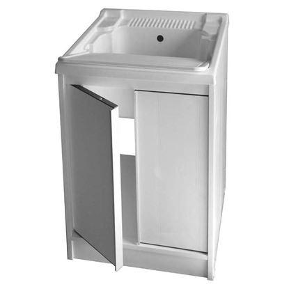 Immagine di Mobile Lavatoio Avant,  in kit , con struttura in resina di PVC, adatto ad uso esterno,  vasca in ABS, 60x50x86 cm
