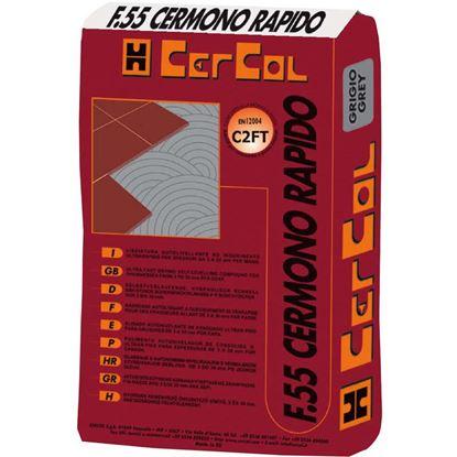 Immagine di Colla, F55, scivolamento verticale nullo, per gres porcellanato, da interni ed esterni, 20 kg, colore grigio