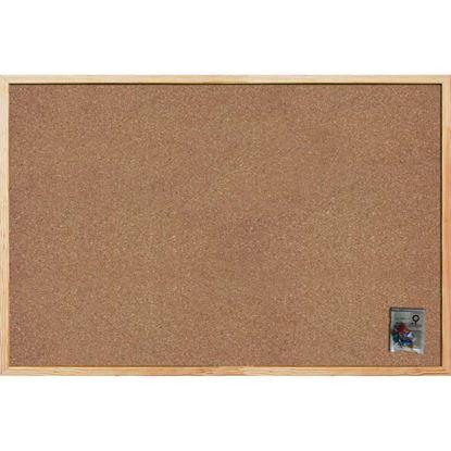 Immagine di Bacheca in sughero, con cornice in legno, sughero entrambi i lati, spessore 14 mm, accessori fissaggio inclusi, 90x60 cm