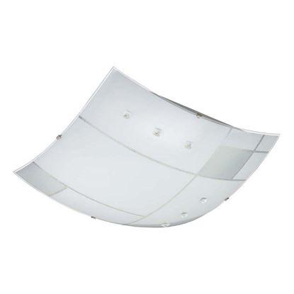Immagine di Plafoniera a Led CARRE 1x20W, colore bianco serigrafato con cristalli, ganci cromo, 40x40 cm