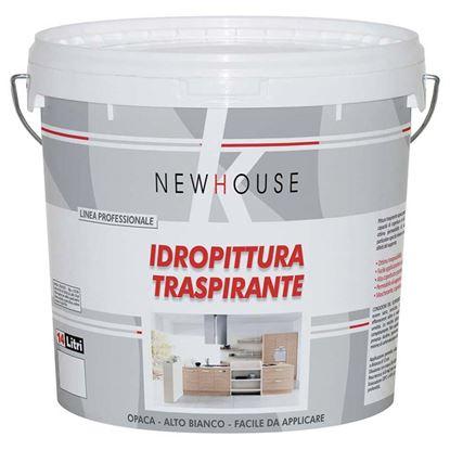Immagine di IDROPITTURA TRASPIRANTE NEW HOUSE, PER INTERNO, RESA 40-54 M² CON 1 LATTA, 4 LT, COLORE BIANCO